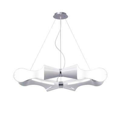 Ora Pendant 8 Flat Round Light E27, Gloss White/White Acrylic/Polished Chrome