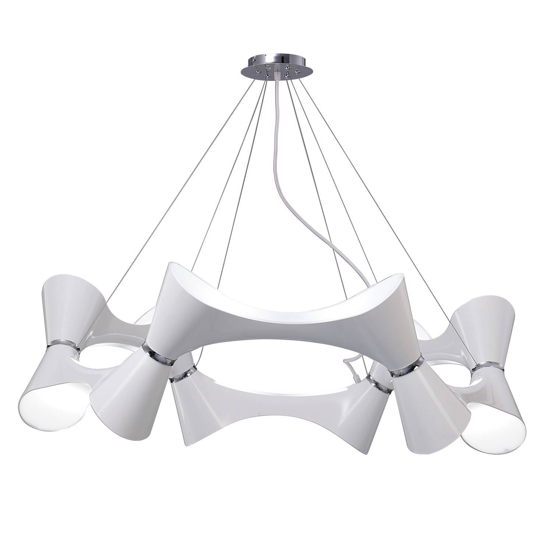Ora Pendant 12 Twisted Round Light E27, Gloss White/White Acrylic/Polished Chrome