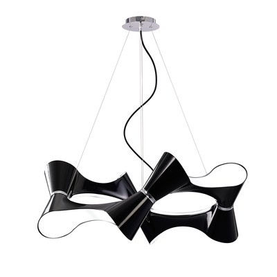 Ora Pendant 8 Twisted Round Light E27, Gloss Black/White Acrylic/Polished Chrome