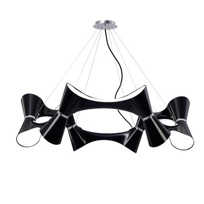 Ora Pendant 12 Twisted Round Light E27, Gloss Black/White Acrylic/Polished Chrome