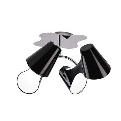 Ora Ceiling 2 Arm 4 Light E27, Gloss Black/White Acrylic/Polished Chrome