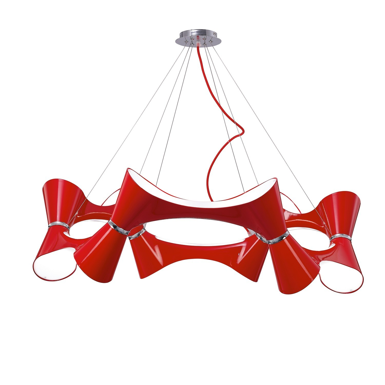 Ora Pendant 12 Twisted Round Light E27, Gloss Red/White Acrylic/Polished Chrome