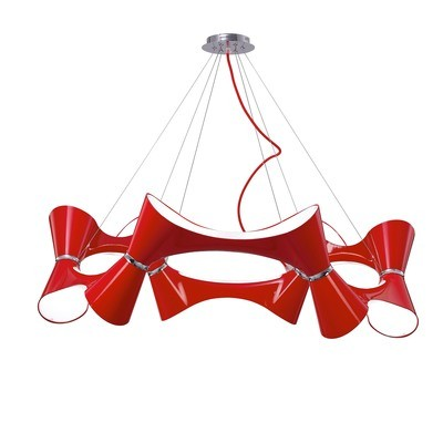 Ora Pendant 12 Twisted Round Light E27, Gloss Red/White Acrylic/Polished Chrome