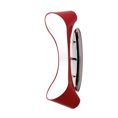 Ora Wall Lamp 2 Light E27, Gloss Red/White Acrylic/Polished Chrome