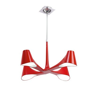 Ora Telescopic Semi Flush Convertible 4 Light E27, Gloss Red/White Acrylic/Polished Chrome