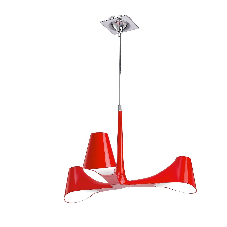 Ora Telescopic Semi Flush Convertible 3 Light E27, Gloss Red/White Acrylic/Polished Chrome