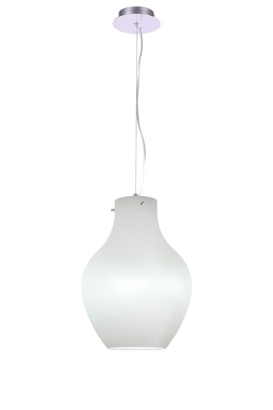 Anfora Pendant polished chrome / opal white, 1 x E27