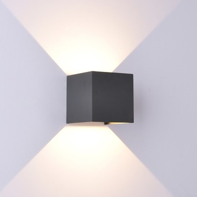 Davos Wall Lamp cube, 12W LED, 3000K, 1100lm, IP54, Anthracite