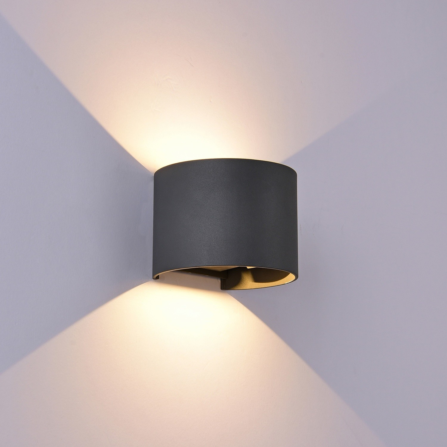 Davos Wall Lamp cylinder, 12W LED, 3000K, 1100lm, IP54, Anthracite