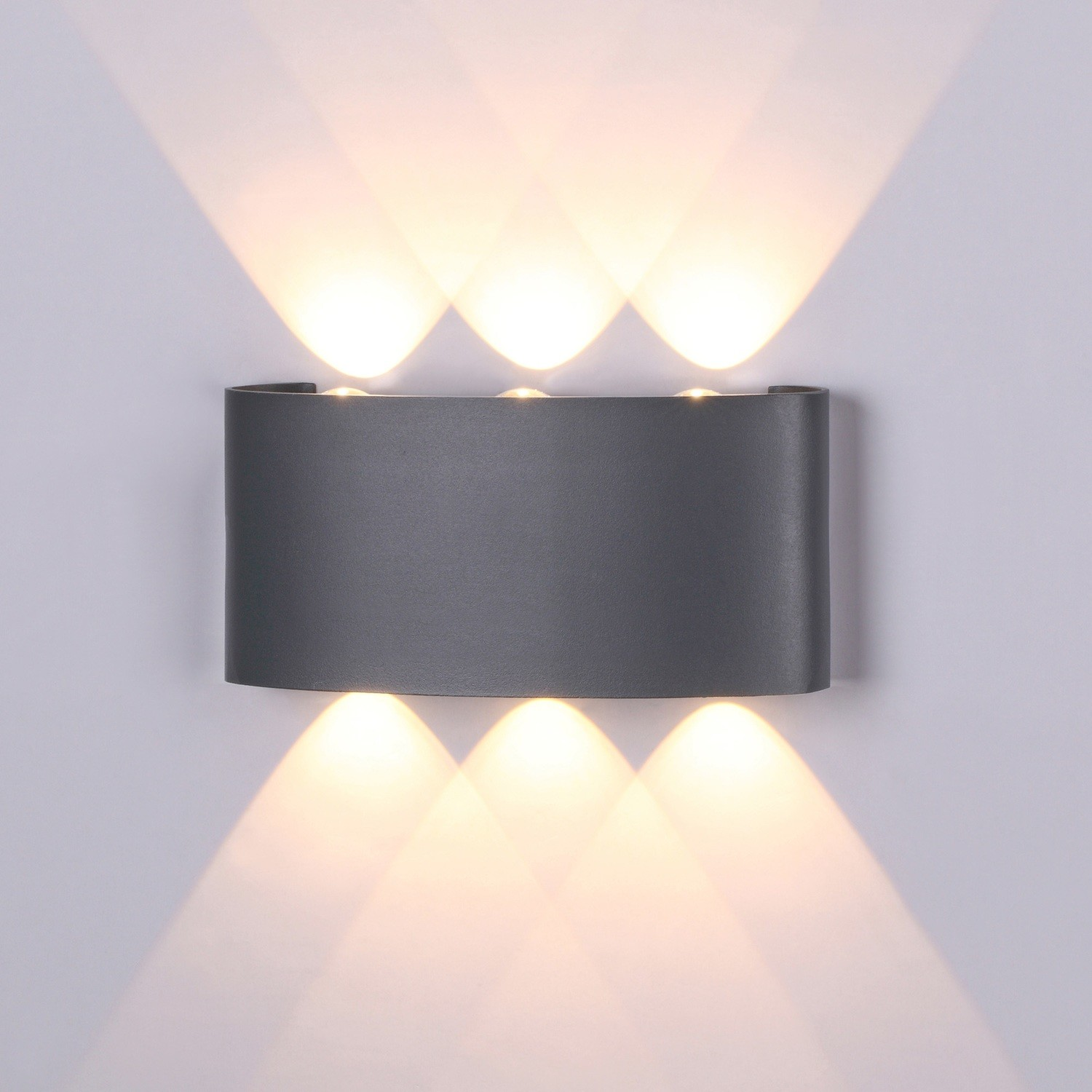 Symmetry Wall Lamp, 6W LED, 3000K, 450lm, IP54, Anthracite