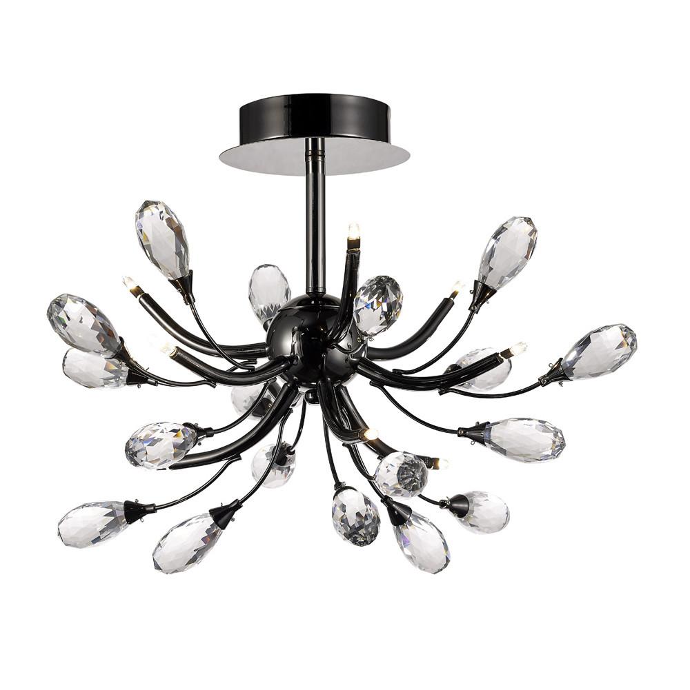 Anita Semi Ceiling 9 Light G4 Black Chrome/Clear Crystal