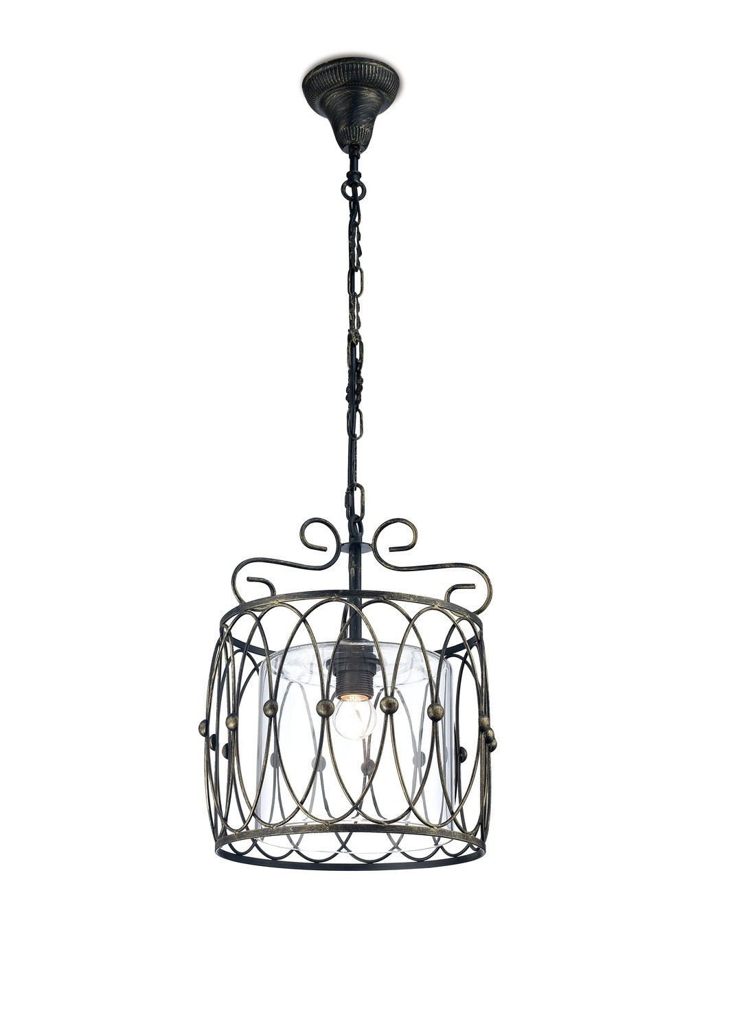 Malcolm Single Pendant 1 Light E27 Black/Gold With Clear Glass