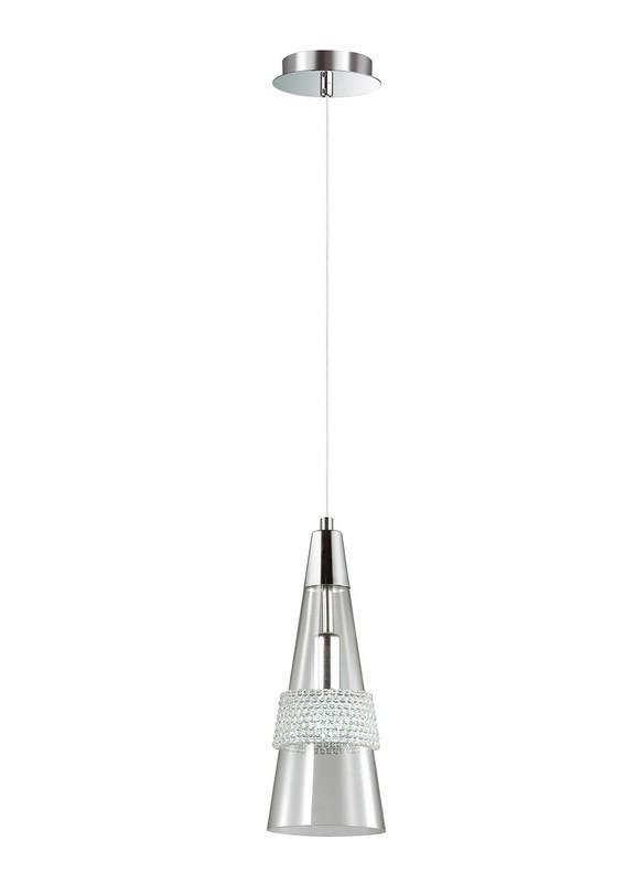 Emilia Single Pendant 1 Light E14 Polished Chrome/Crystal