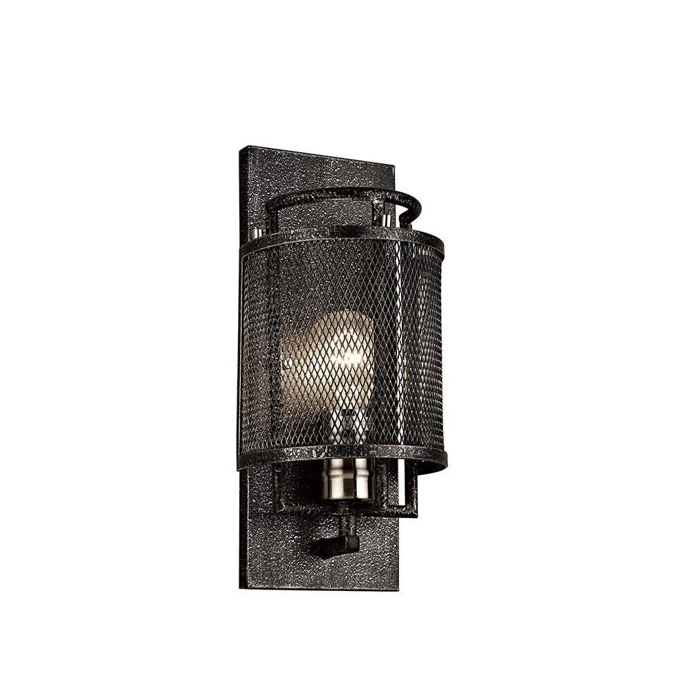 Parker Wall Lamp 1 Light E27  Weathered Zinc/Brushed Nickel
