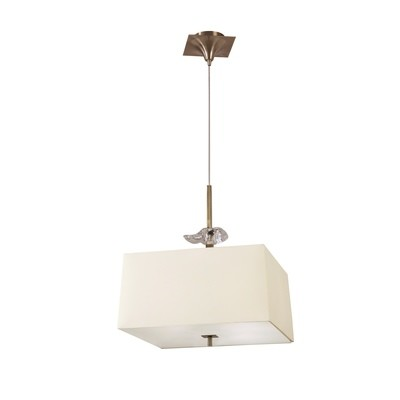 Akira Pendant 4 Light E27, Antique Brass/Frosted Glass With Cream Shade