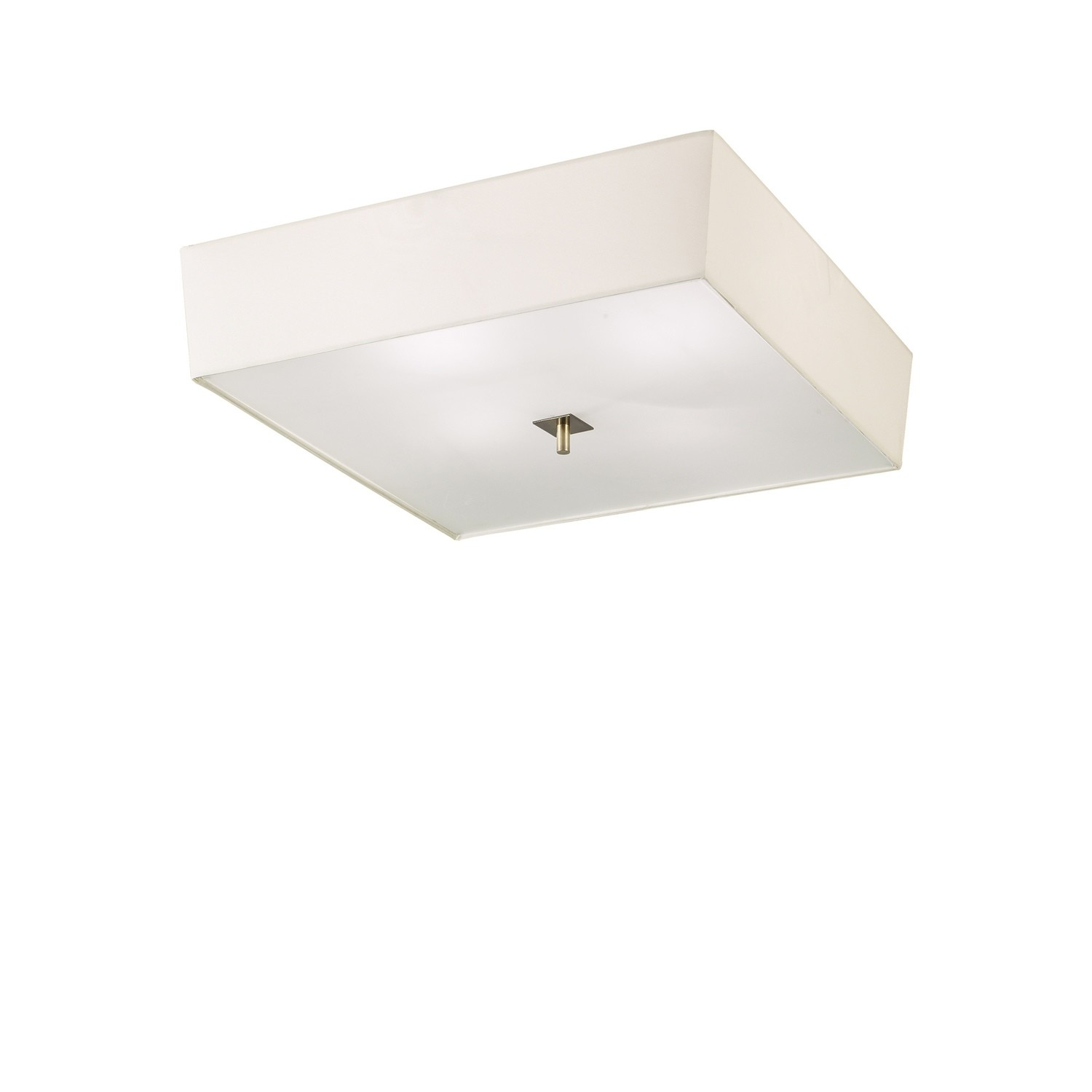 Akira Ceiling 4 Light E27, Antique Brass/Frosted Glass With Cream Shade
