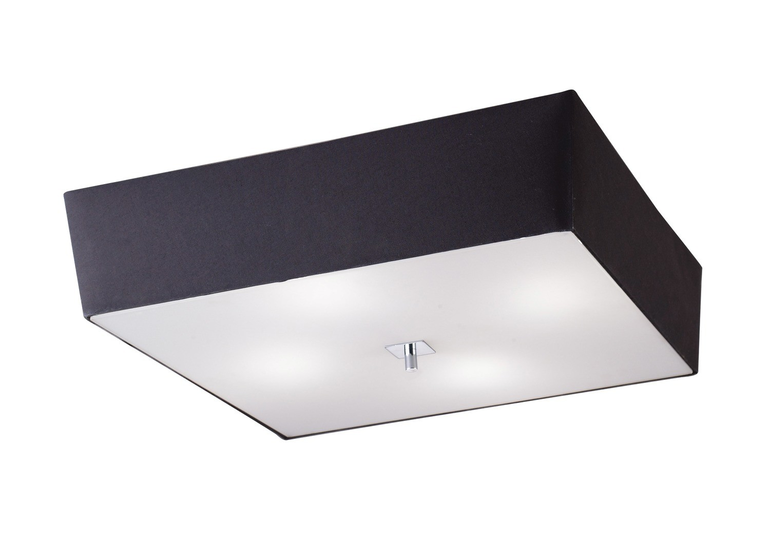 Akira Ceiling 4 Light E27, Polished Chrome/Frosted Glass With Black Shade