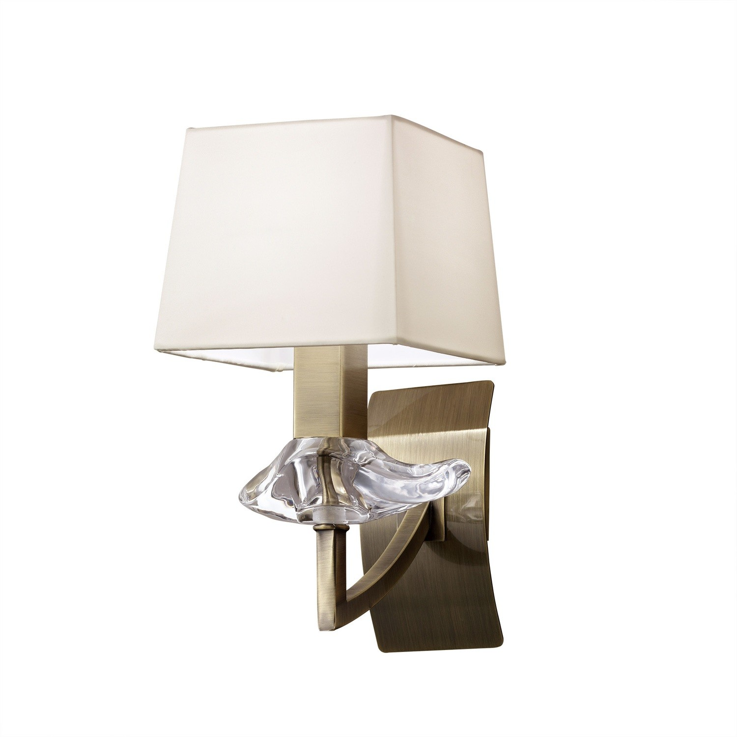 Akira Wall Lamp Switched 1 Light E14, Antique Brass With Cream Shade