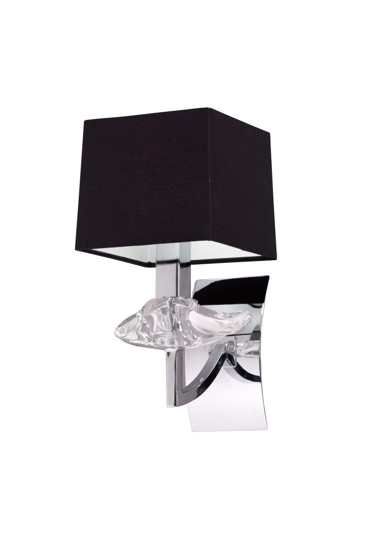 Akira Wall Lamp Switched 1 Light E14, Polished Chrome With Black Shade