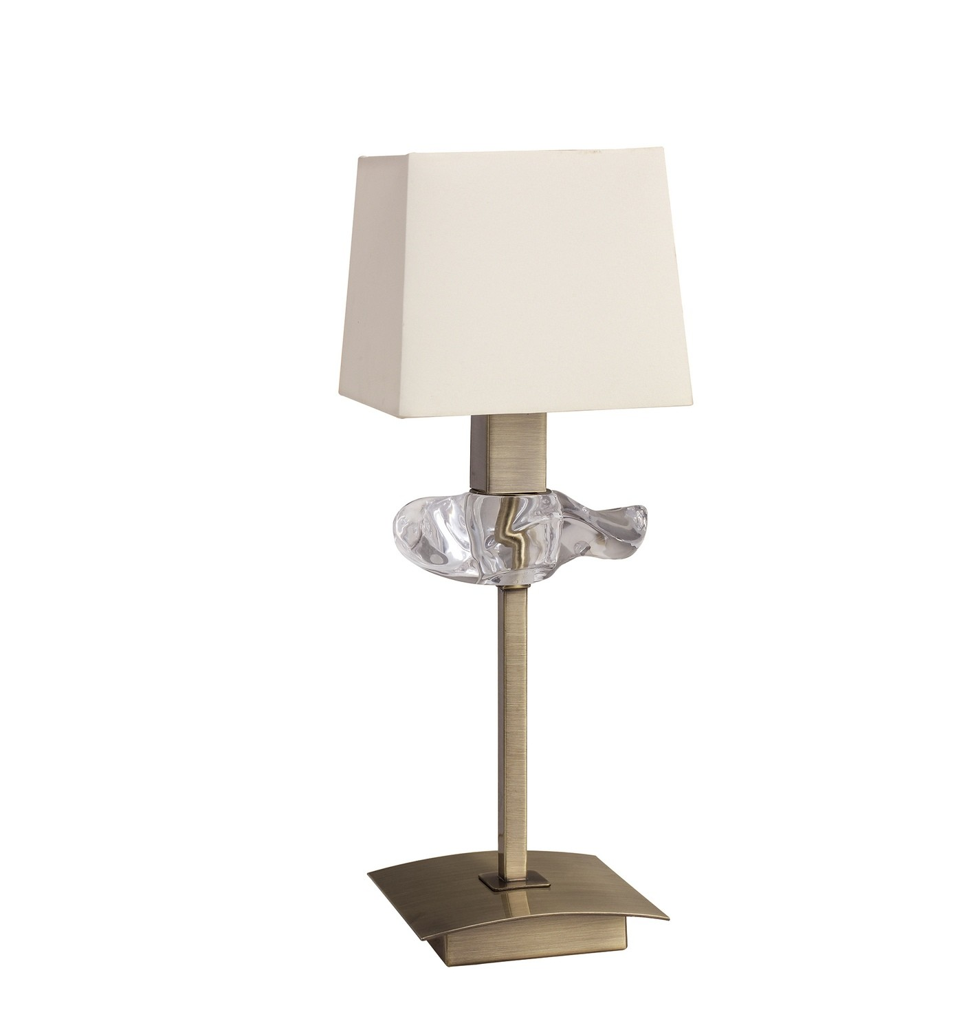 Akira Table Lamp 1 Light E14, Antique Brass With Cream Shade
