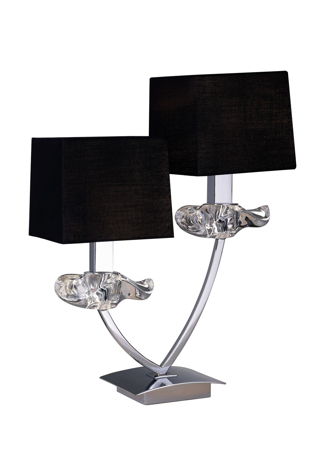 Akira Table Lamp 2 Light E14, Polished Chrome With Black Shades