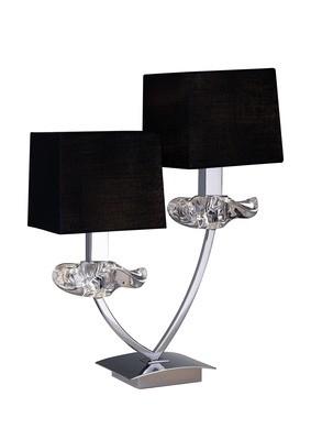 Akira Table Lamp 2 Light E14, Polished Chrome With Black Shades