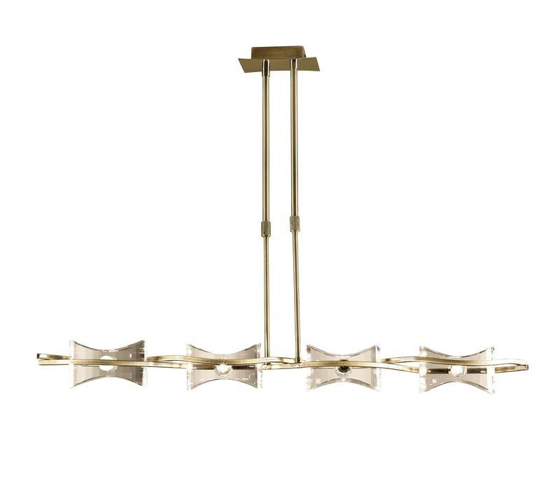 Kromo Telescopic 4 Light G9 Line, Antique Brass