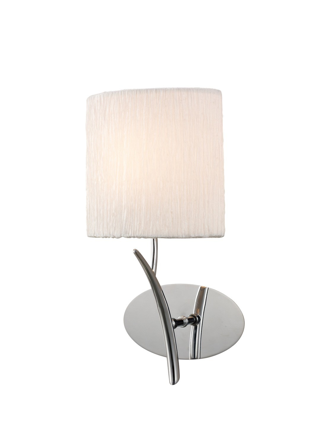 Eve Wall Lamp Switched 1 Light E27, Polished Chrome With White Oval Shade