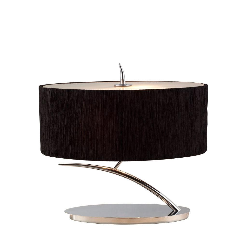 Eve Table Lamp 2 Light E27 Small, Polished Chrome With Black Oval Shade