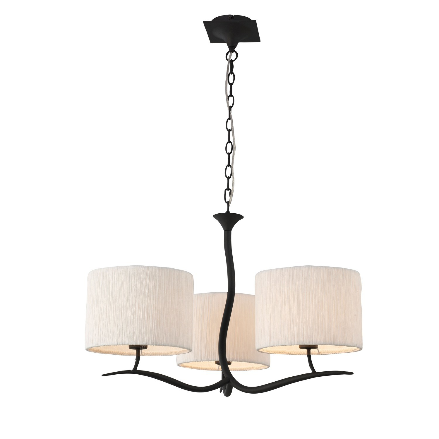 Eve Pendant 3 Light E27, Anthracite With White Round Shades