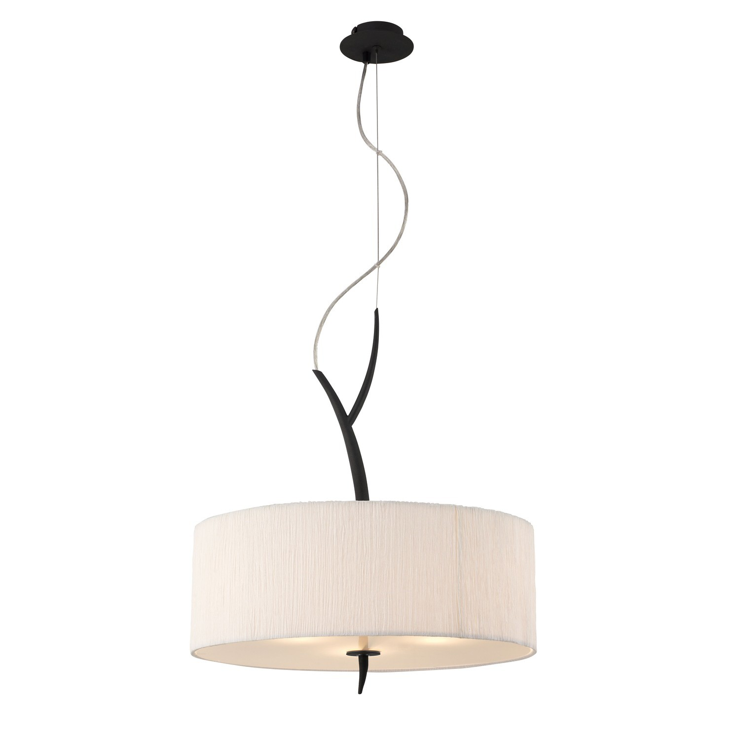Eve Pendant 3 Light E27, Anthracite With White Round Shade