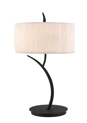 Eve Table Lamp 2 Light E27 Large, Anthracite With White Round Shade