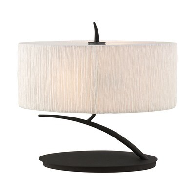 Eve Table Lamp 2 Light E27 Small, Anthracite With White Oval Shade