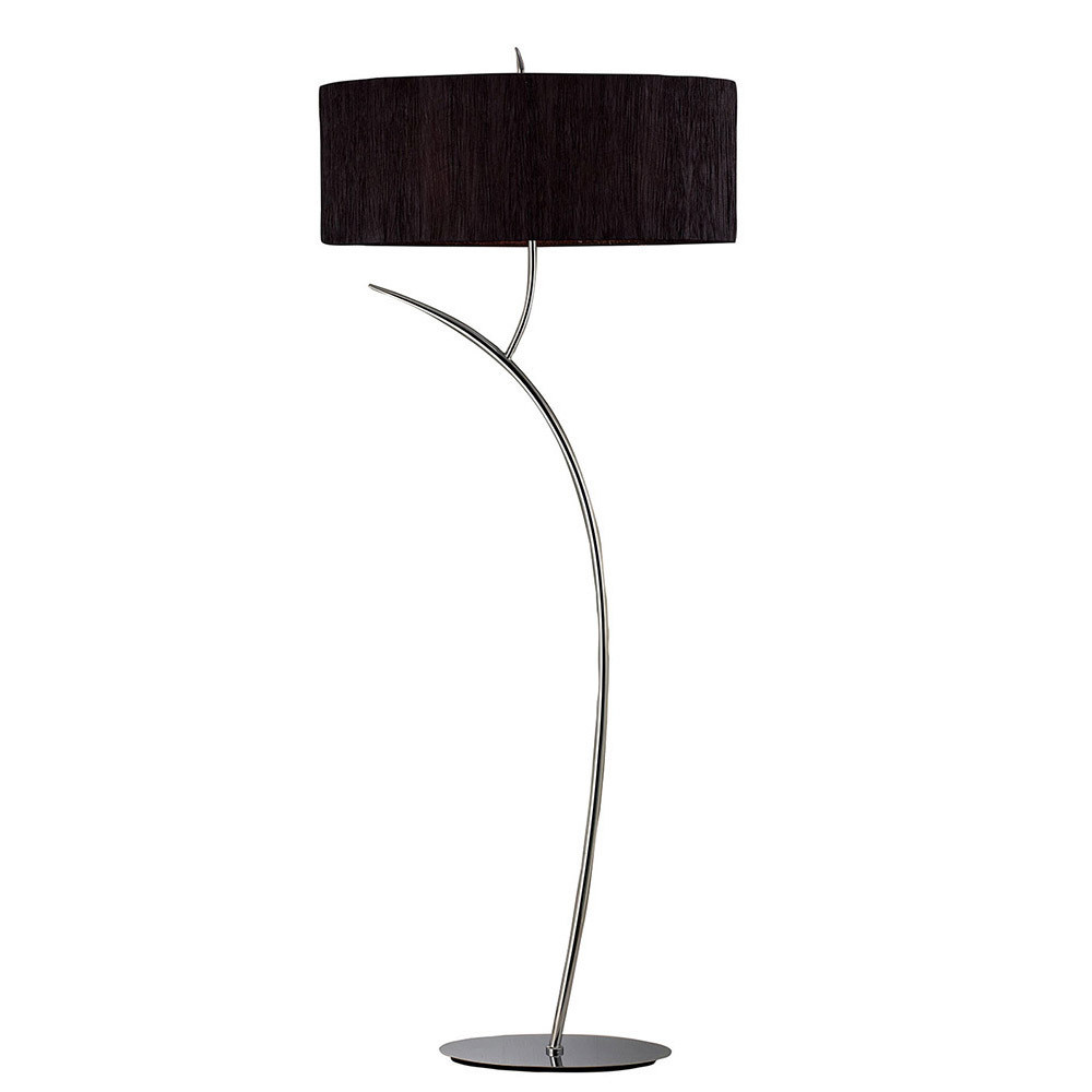 Eve Floor Lamp 2 Light E27, Anthracite With White Oval Shade