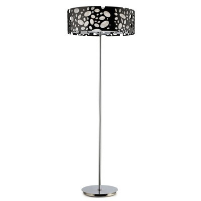 Lupin Floor Lamp 4 Light E27, Gloss Black/White Acrylic/Polished Chrome