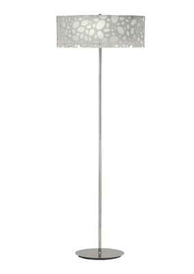 Lupin Floor Lamp 4 Light E27, Gloss White/White Acrylic/Polished Chrome