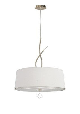 Mara Pendant 4 Light E27 Round, French Gold With Ivory White Shade