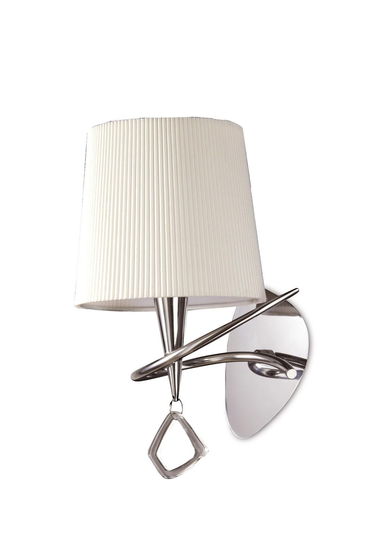 Mara Wall Lamp Switched 1 Light E14, Polished Chrome With Ivory White Shade