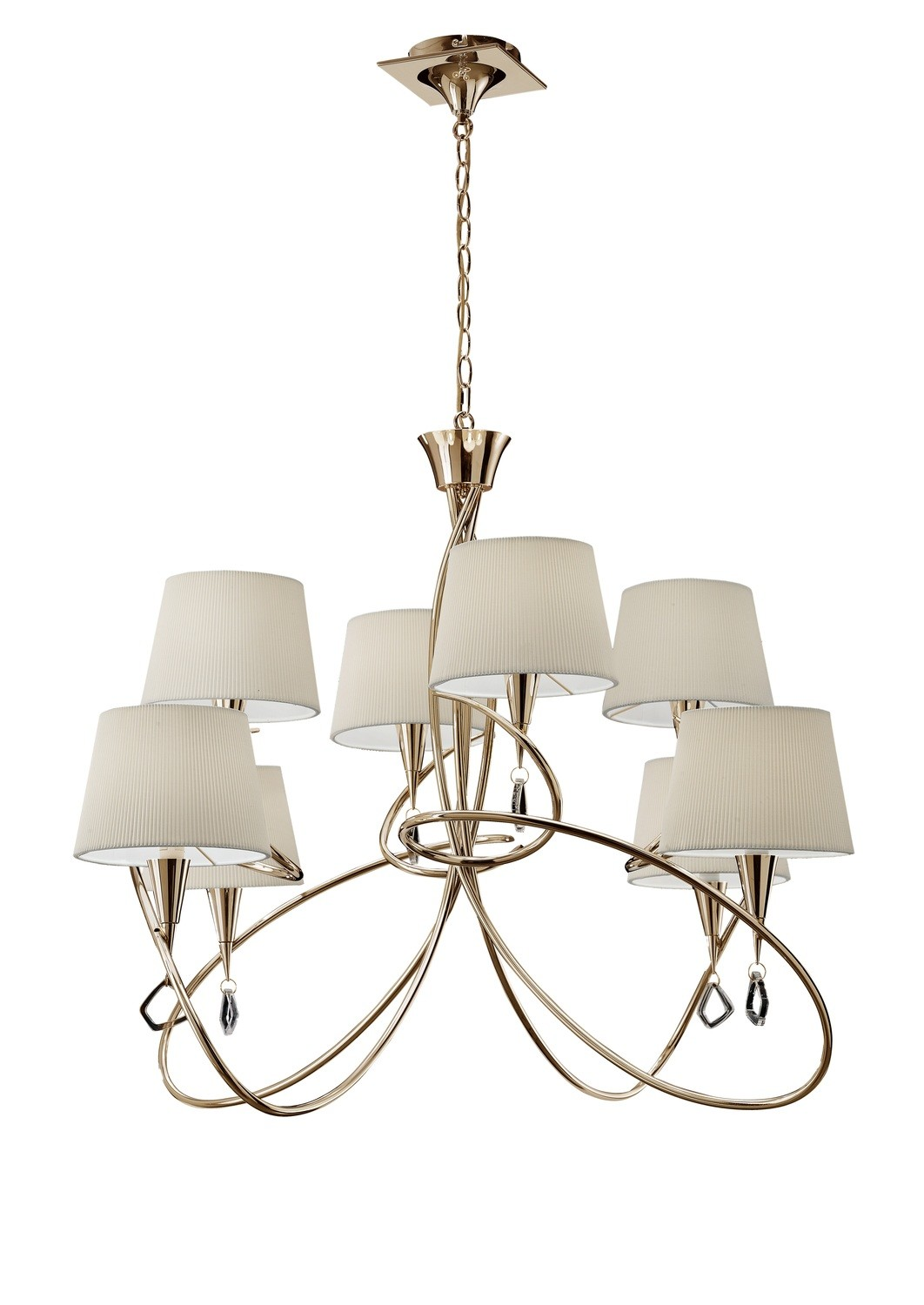 Mara Pendant 2 Tier 8 Light E14, French Gold With Ivory White Shades