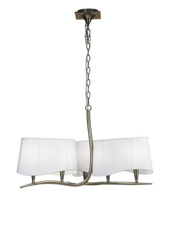 Ninette Pendant 3 Arm 6 Light E14, Antique Brass With Ivory White Shades