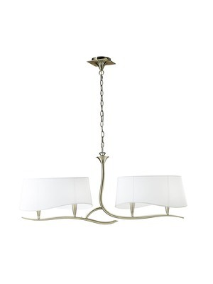 Ninette Pendant 2 Arm 4 Light E14, Antique Brass With Ivory White Shades