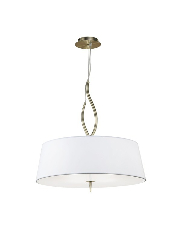 Ninette Pendant 4 Light E27, Antique Brass With Ivory White Shades