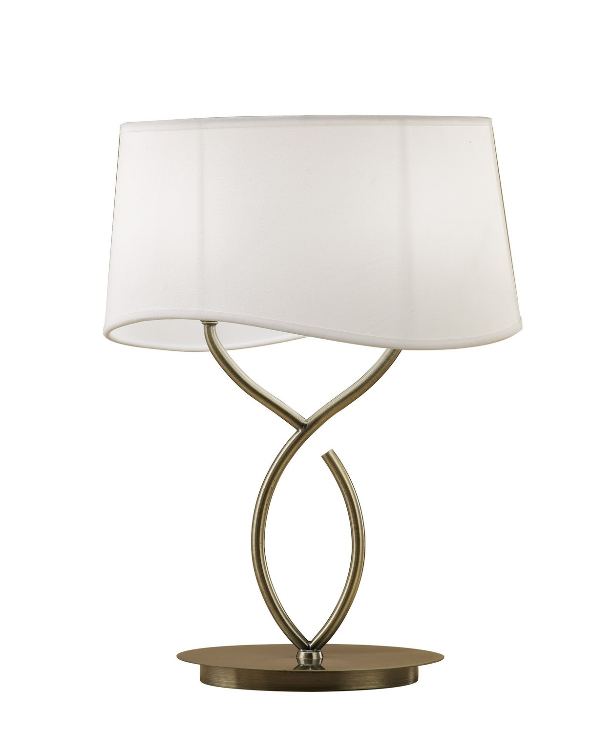 Ninette Table Lamp 2 Light E14 Large, Antique Brass With Ivory White Shade