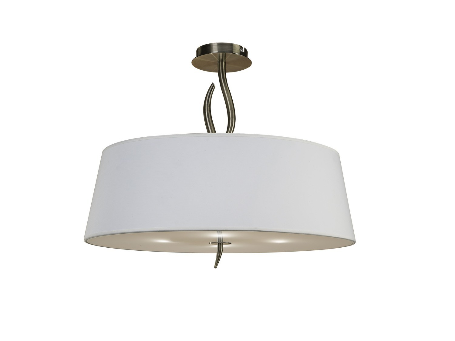 Ninette Semi Ceiling 4 Light E27, Antique Brass With Ivory White Shade