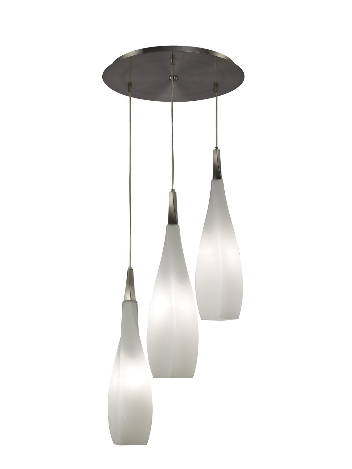 Neo Pendant 3 Light E27 Round, Satin Nickel/Frosted White Glass