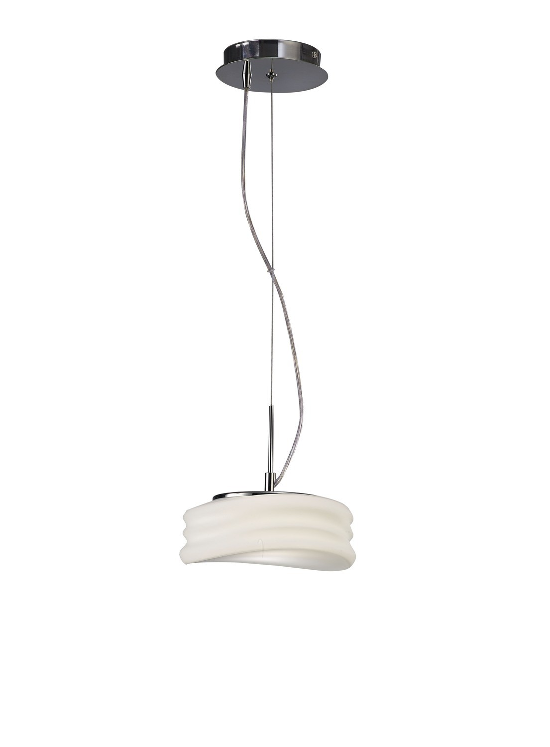 Mediterraneo Pendant 2 Light GU10 Small, Polished Chrome/Frosted White Glass