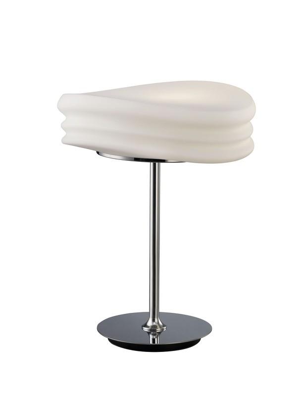 Mediterraneo Table Lamp 2 Light E27 Medium, Polished Chrome/Frosted White Glass