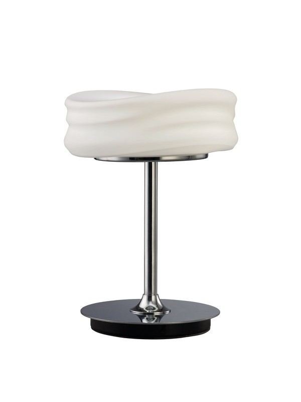 Mediterraneo Table Lamp 2 Light GU10 Small, Polished Chrome/Frosted White Glass