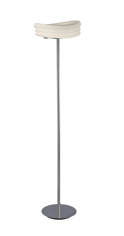 Mediterraneo Floor Lamp 2 Light E27, Polished Chrome/Frosted White Glass