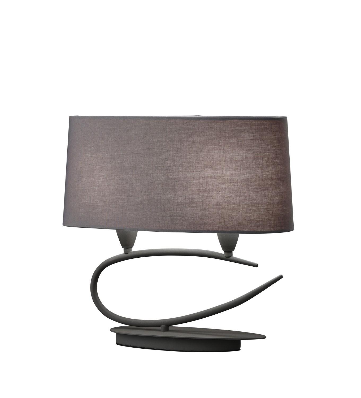Lua Table Lamp 2 Light E27, Ash Grey With Ash Grey Shades